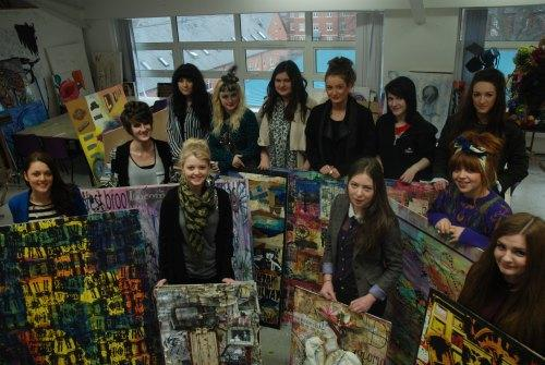 ART PROJECT: Students from QE Sixth Form College with some of the art work they have produced as part of their collaborative project with Westbrook Villas Residents Association and the Head of Steam Railway Museum.