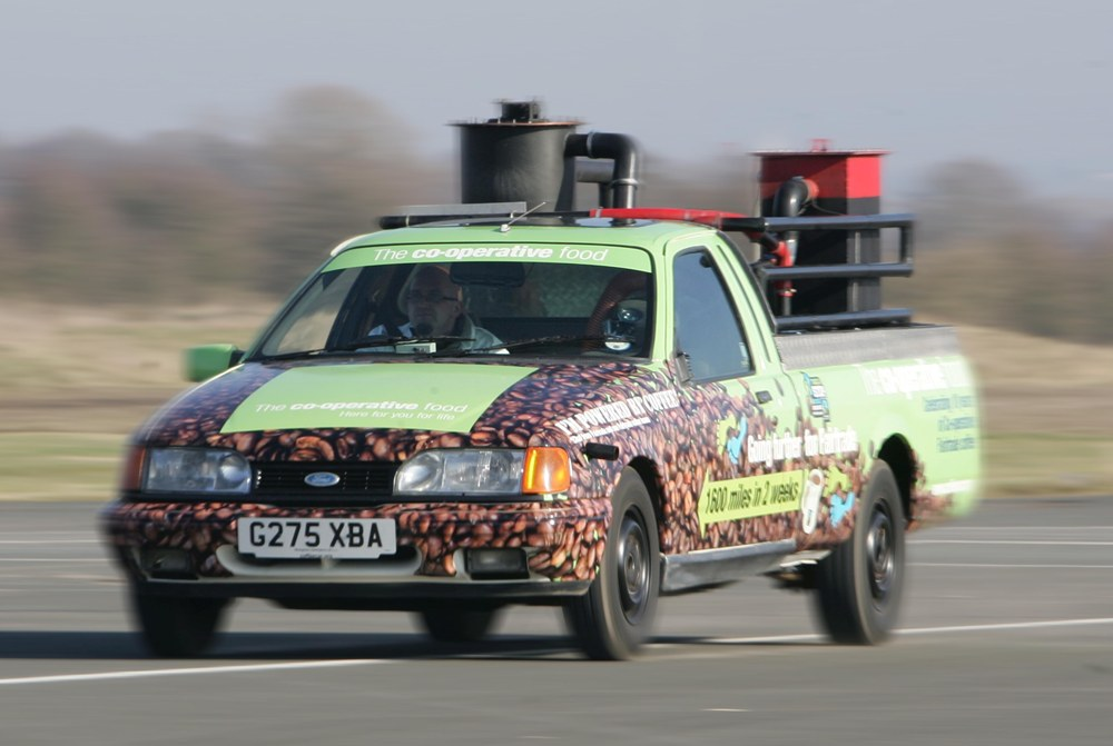 RECORD BREAKER: Eco-engineer Martin Bacon sets the speed record in his Coffee Car.