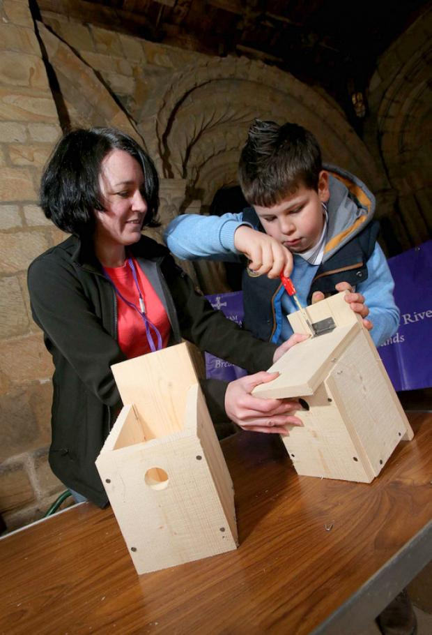 The Northern Echo: CHEERS: Tracey Dornan, project officer with Heritage Woodlands and Riverbanks, helps Matthew Siddle, nine, build his bird box during the e