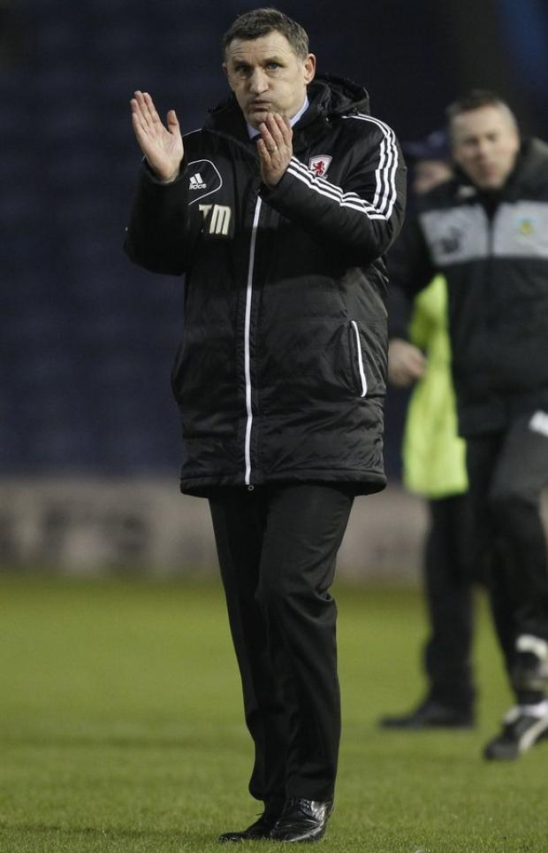 The Northern Echo: BLANK SCORELINE: Middlesbrough manager Tony Mowbray applauds the travelling supporters after last night's 0-0 draw