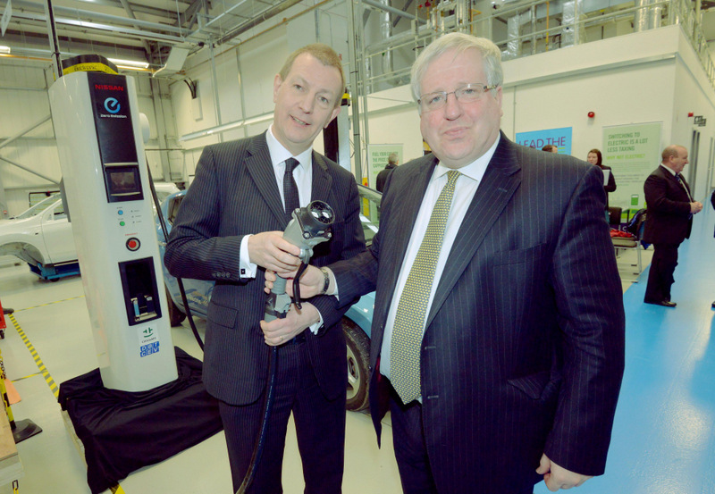 CHARGED UP: Secretary of State for Transport Patrick McLoughlin visits the Gateshead College Skills Academy for Manufacturing and Innovation to announce plans for measures to encourage electric vehicle take up nationwide, with Professor Colin Herron