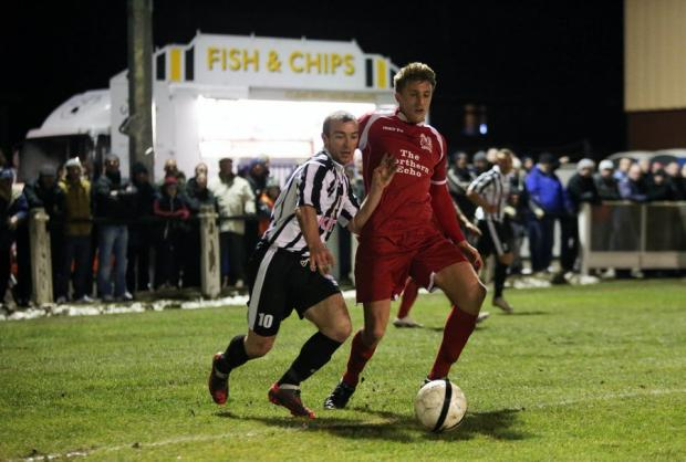 BIG WIN: Darlington's Terry Galbraith gets the better of Spennymoor's Gavin Cogdon on Friday night