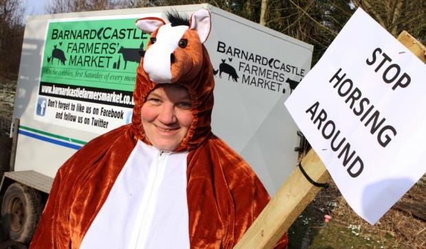 MANE EVENT: Katrina Palmer as a pantomime horse to promote the benefits of buying direct from farmers at the monthly Barnard Castle Farmers' Market