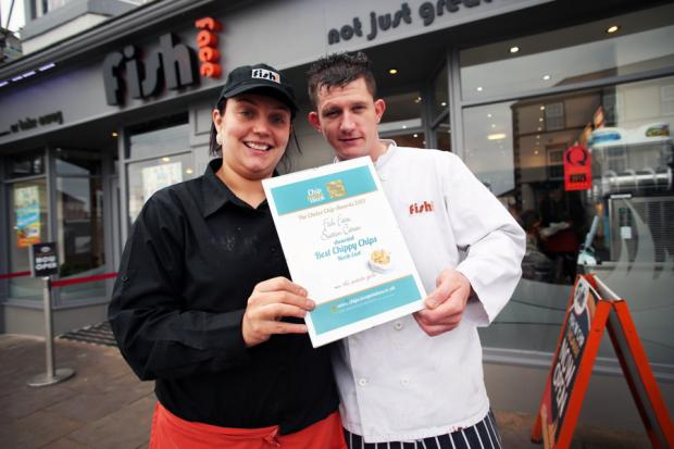 Nicola Darley and David Atkinson with their Best Chippy Chips award at Fish Face in Seaton Carew