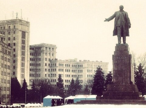 BACK IN THE USSR: The statue of Lenin that towers over the main square in the centre of Kharkiv