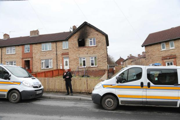 Police at the scene of the fire on Chaytor Road, Bridgehill, near Consett
