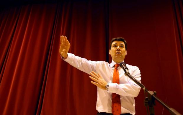 GIVING VIEWS: Andy Burnham speaks at the meeting