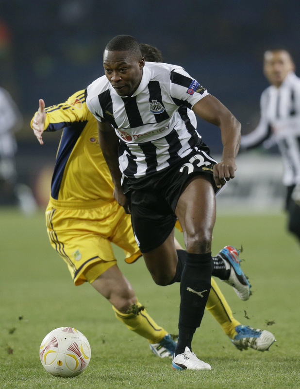 MATCH-WINNER: Magpies hero Shola Ameobi heads for goal during last night's win
