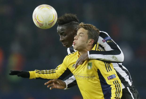 GAIN IN UKRAINE: Massadio Haidara, making his debut, beats Marlos to the ball last night