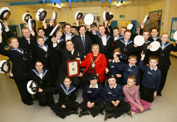Councillor Linda Marshall and Sub Lieutenant Grainger with some of the sea cadets