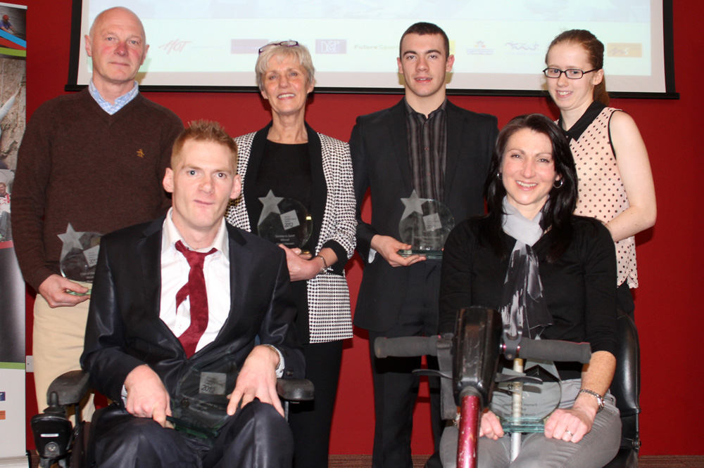 l-r Greg Beswick (Tees Rowing Club), Stephen Miller, Liz Starrs (Hartlepool Sportability Club), Josef Craig, Gayle Bloomfield and Stephanie Moore