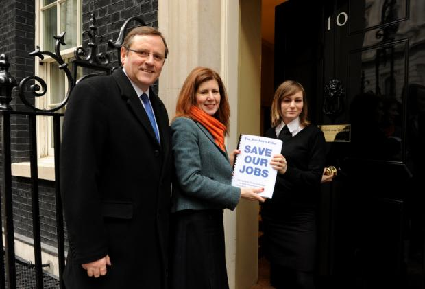 Darlington MP Jenny Chapman and Sedgefield MP Phil Wilson hand over the petition at Number 10 Downing Street