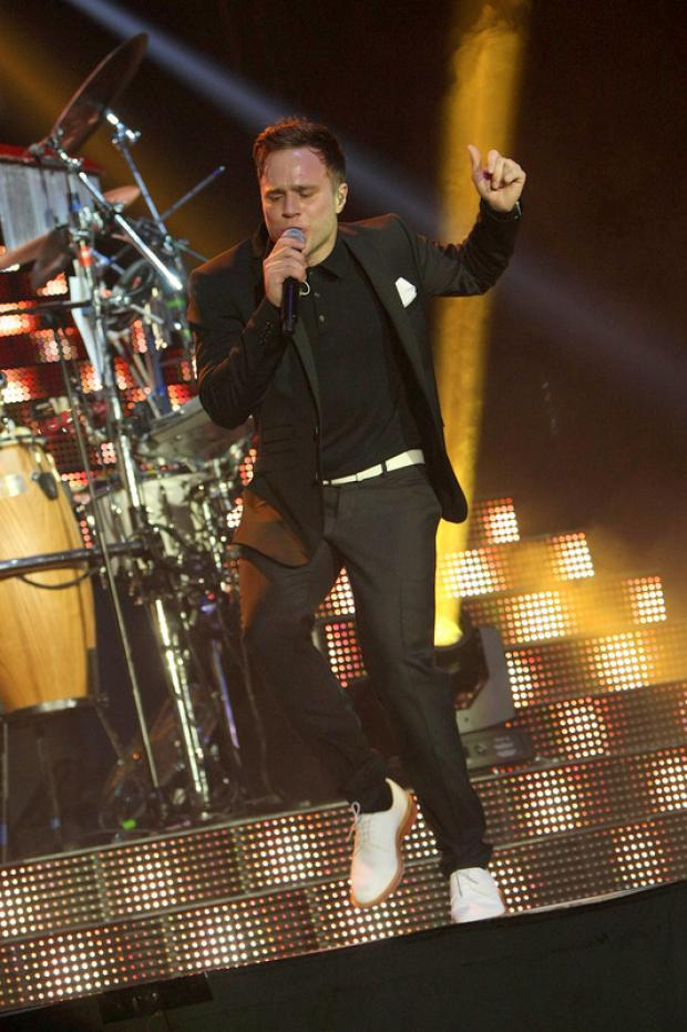 MURS THE MERRIER: Olly Murs on stage last night