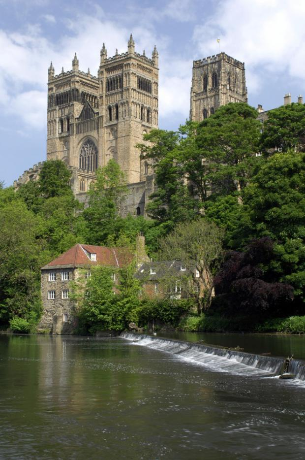 Old Fulling Mill Museum, with Durham Cathedral behind