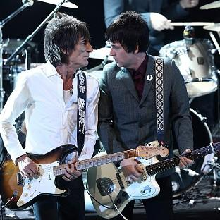 The Northern Echo: Johnny Marr, right, performs on stage with Ronnie Wood during the NME awards