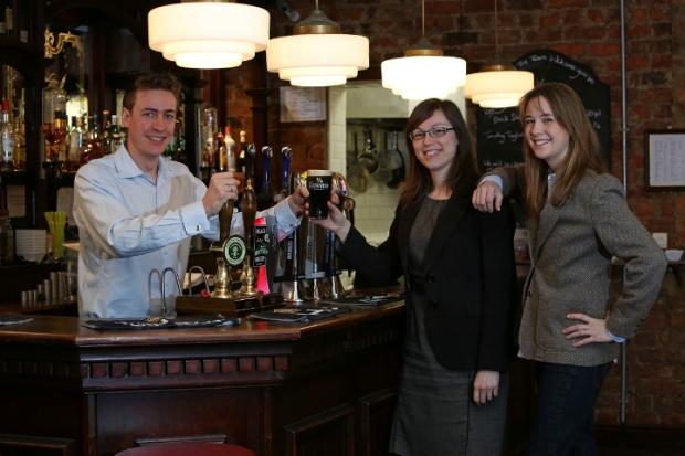 Tom and Vanessa Wade, new landlords of the Vane Arms, with Nicola Neilson, centre, a partner at Latimer Hinks