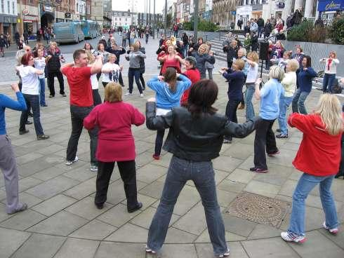 Dancers break out into Zumba flashmob in Darlington