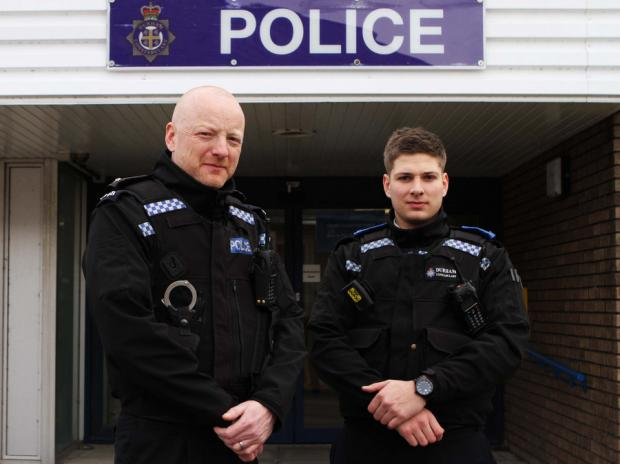 COMMENDED FOR EFFORTS: PC Simon Schofield, left, and PCSO Michael Hogg who have both been given commendations, outside Crook police station