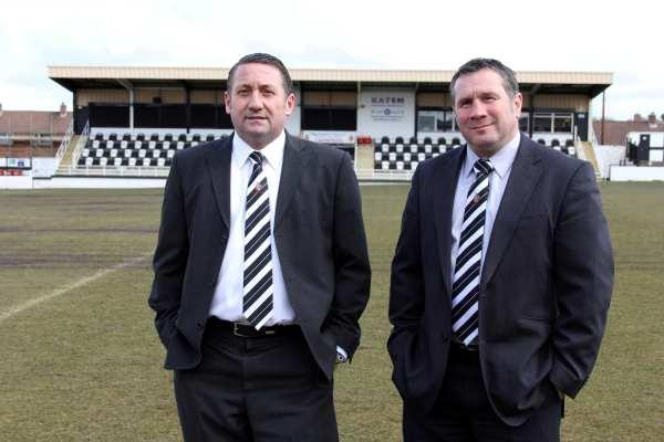 BIG DAY OUT: Spennymoor chairman Brad Groves and Chris Pomfret, of sponsor Motif8