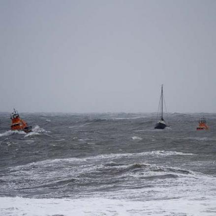 Yacht rescued in gale force winds
