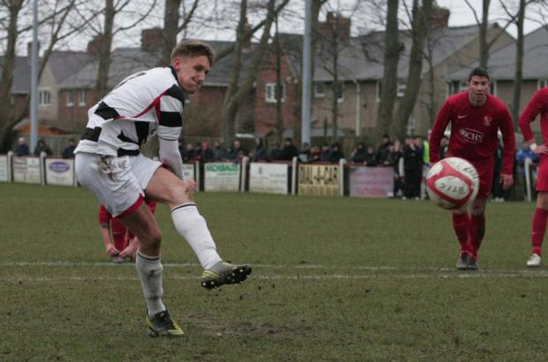 ON THE SPOT: Terry Galbraith puts Darlington ahead at Bedlington Terriers on Saturday