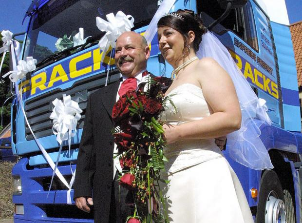 Stan Fraquet with daughter Sarah, who arrived in a Fracks truck on her wedding day