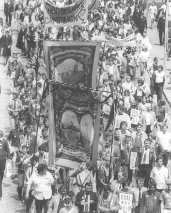 ON THE MARCH: Westoe Colliery banner leads the way on a lobby of Parliament in June 1984