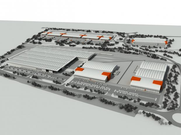 An artist's impression of Hitachi's proposed train factory in Newton Aycliffe