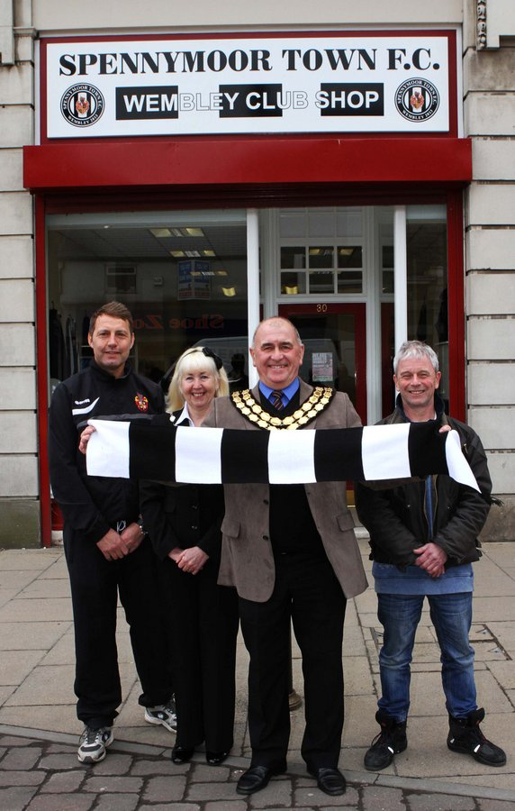 UP FOR THE CUP: Mayor George Tolley leads the support as the countdown begins to Spennymoor FC's big day as Wembley. Also pictured from the left, team manager Json Ainsley,  Mayoress Ann Tolley and sponser Geoff Siddle, of Signtime graphics