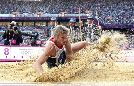 INJURY TROUBLES: Chris Tomlinson is battling against a leg injury as he prepares to compete in tonight's Commonwealth Games long jump final