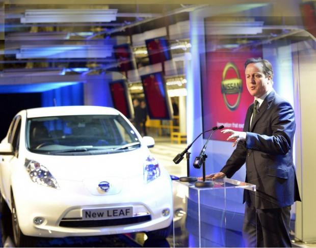 David Cameron launching production of the Nissan Leaf at Sunderland in March 2013