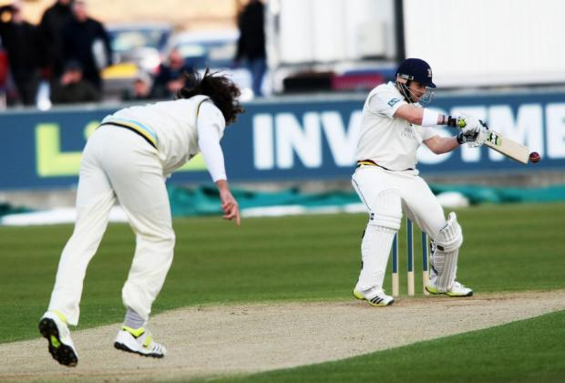 The Northern Echo: CENTURION: Yorkshire's Ryan Sidebottom bowls to Durham's Mark Stoneman, who went on to reach 109