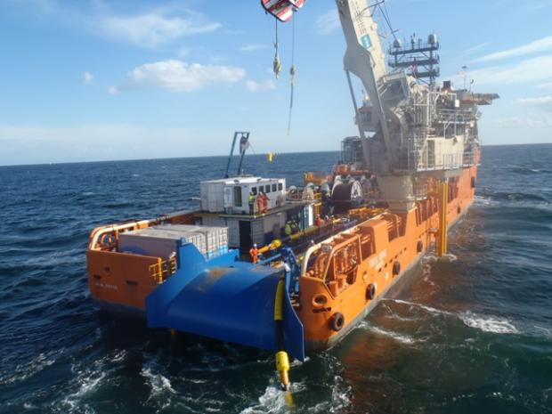 Tekmar workers install a cable protection system on Denmark's Anholt project in the Kattegat Sea, between Denmark and Sweden