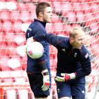 TOP TWO: Jack Butland and Jason Steele, pictured on Team GB duty at Middlesbrough's Riverside Stadium last summer