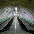 The wooden escalators at the Tyne Tunnel pedestrian link