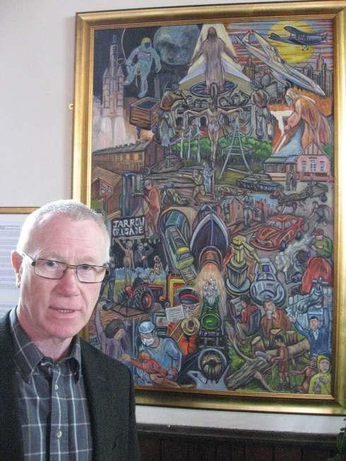 Artist Derek Slater with his painting marking the 100th anniversary of Chilton Methodist Church.