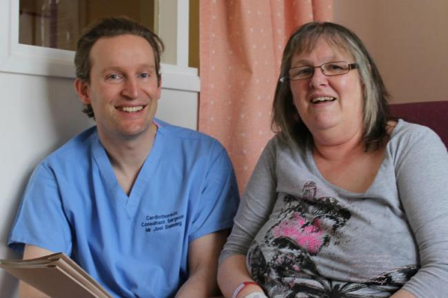 Surgeon Joel Dunning pictured with patient Alison Blyth, who is the first in the region to have this new procedure.
