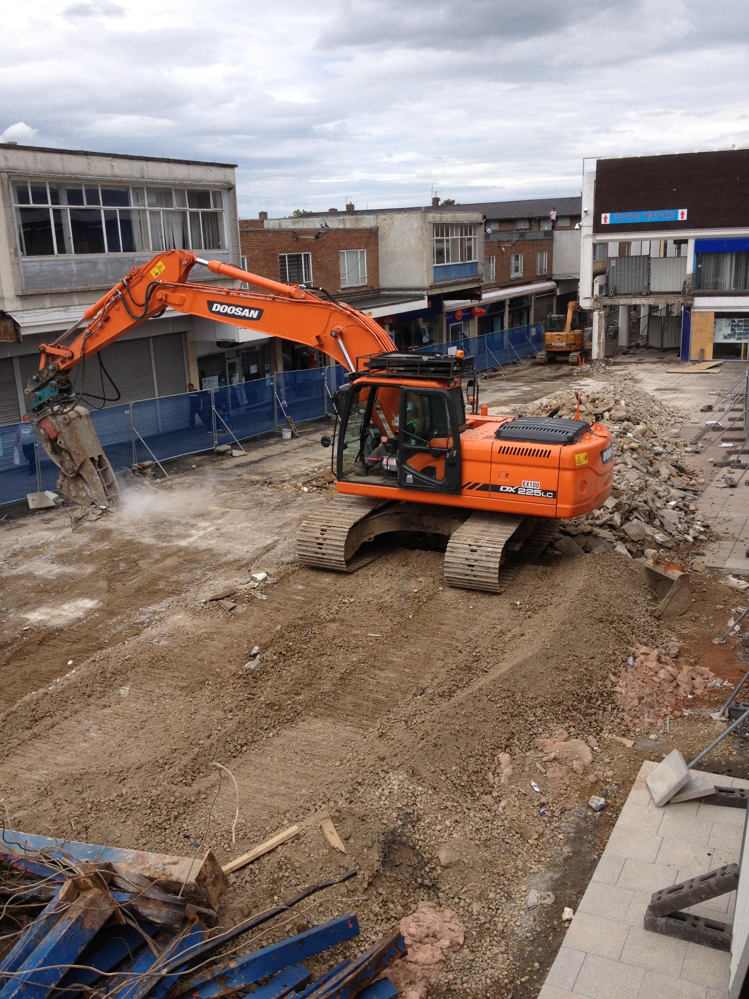 The concrete ramp in Newton  Aycliffe town centre was demolished this week