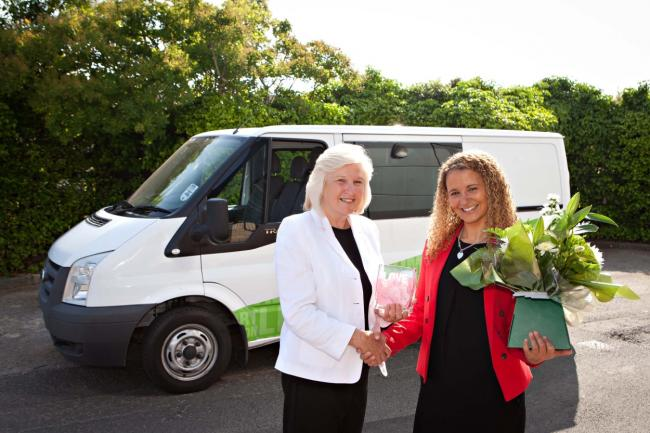 Former mayor of Stockton, Councillor Lynne Apedaile, presents Jessie Joe Jacobs, Chief Executive of A Way Out, with a new minibus,  the charity was chosen by Coun Apedaile as one of her worthy causes during her term in office