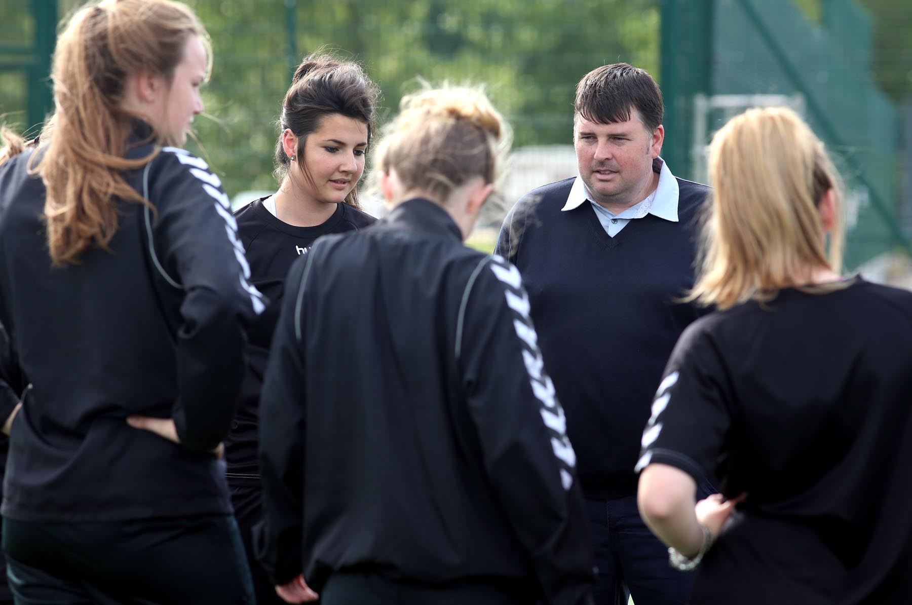 GETTING READY: Coach Lee Sanders with members of the Durham Women's Football Club who have been accepted into the Women's Super League for the 2014 season