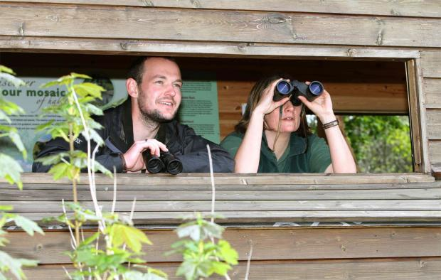 The Northern Echo: reserve managers Adam Edmond and Sophie Rainer in one of the hides