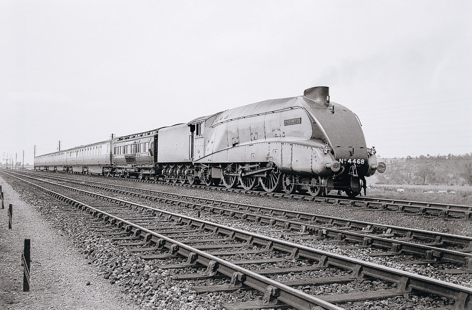 BUILT FOR SPEED: Mallard, photographed near Peterborough, on the day it set a new world record for a steam locomotive