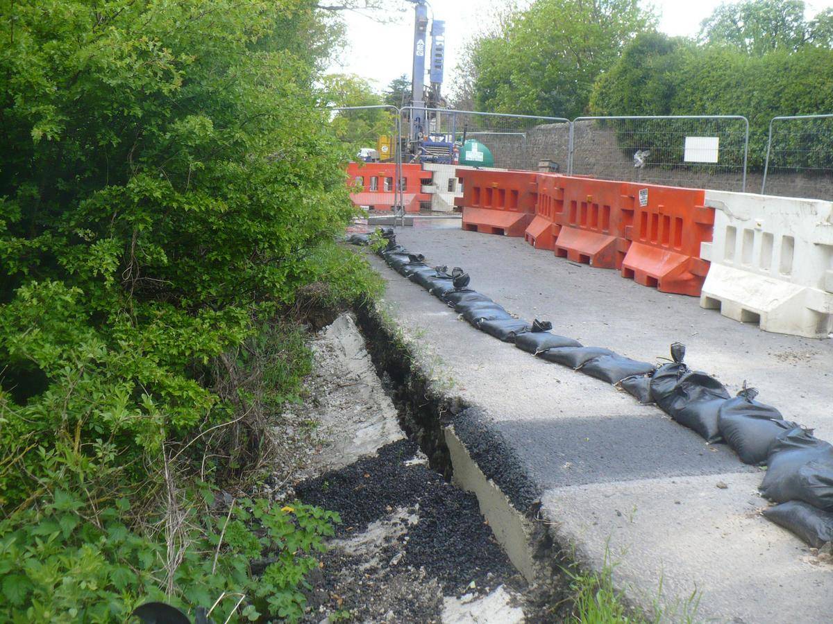 DRIVERS' HEADACHE: The landslip on the A67, near Darlington