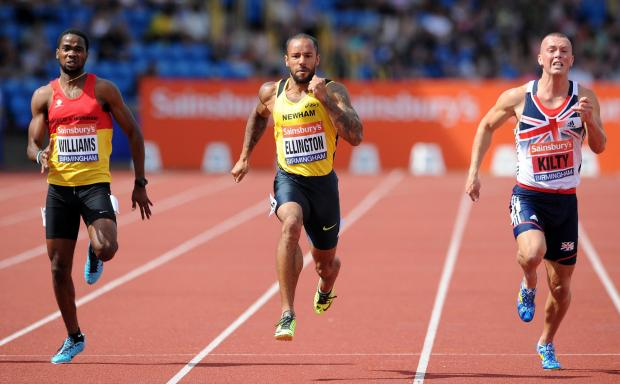 The Northern Echo: TIGHT FINISH: James Ellington, centre, wins the 200m final during day three of the Sainsbury's British Championships at Alexander Stadium in Birmingham. Richard Kilty, right, faces a wait to find out if he has made the British team for next month's Worl