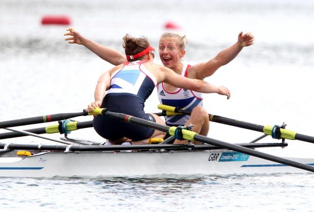 The Northern Echo: Kat Copeland celebrates winning Olympic gold in the lightweight women's double sculls final at London 2012