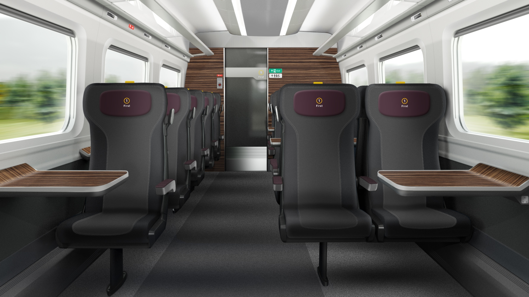 A glimpse of how the First Class carriages will look on Hitachi's Newton Aycliffe-built trains