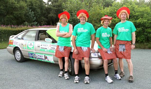 OLD BANGER: From left, David Weston,Gary Hunter,Stuart Graham and Chris Parker-Eland ready for their charity adventure,
