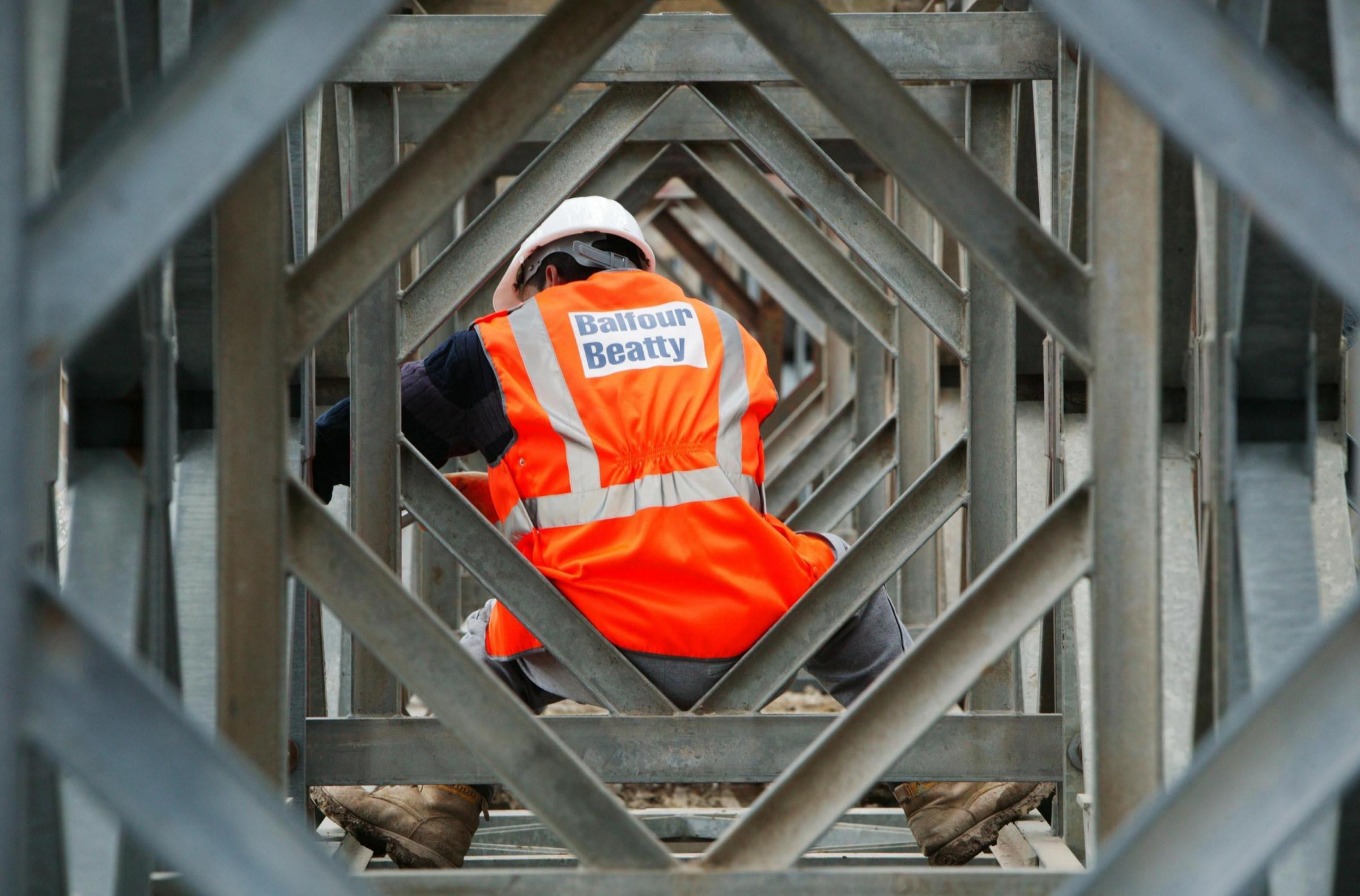 A Balfour Beatty worker on a construction site