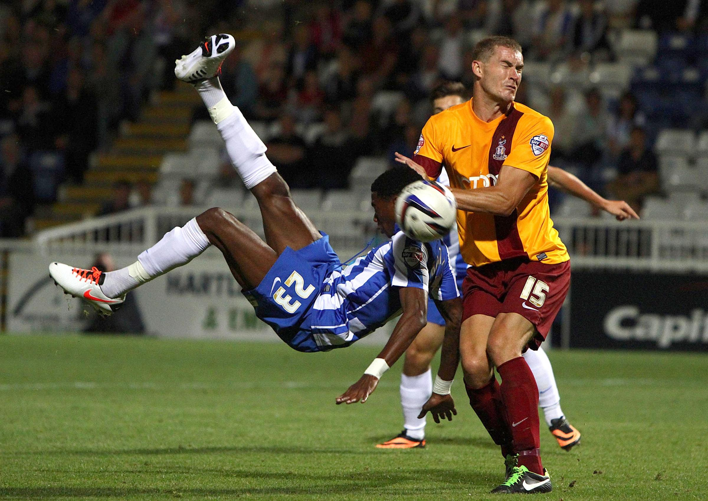 ACROBATIC EFFORT: Nialle Rodney volleys Hartlepool into a 5-0 lead