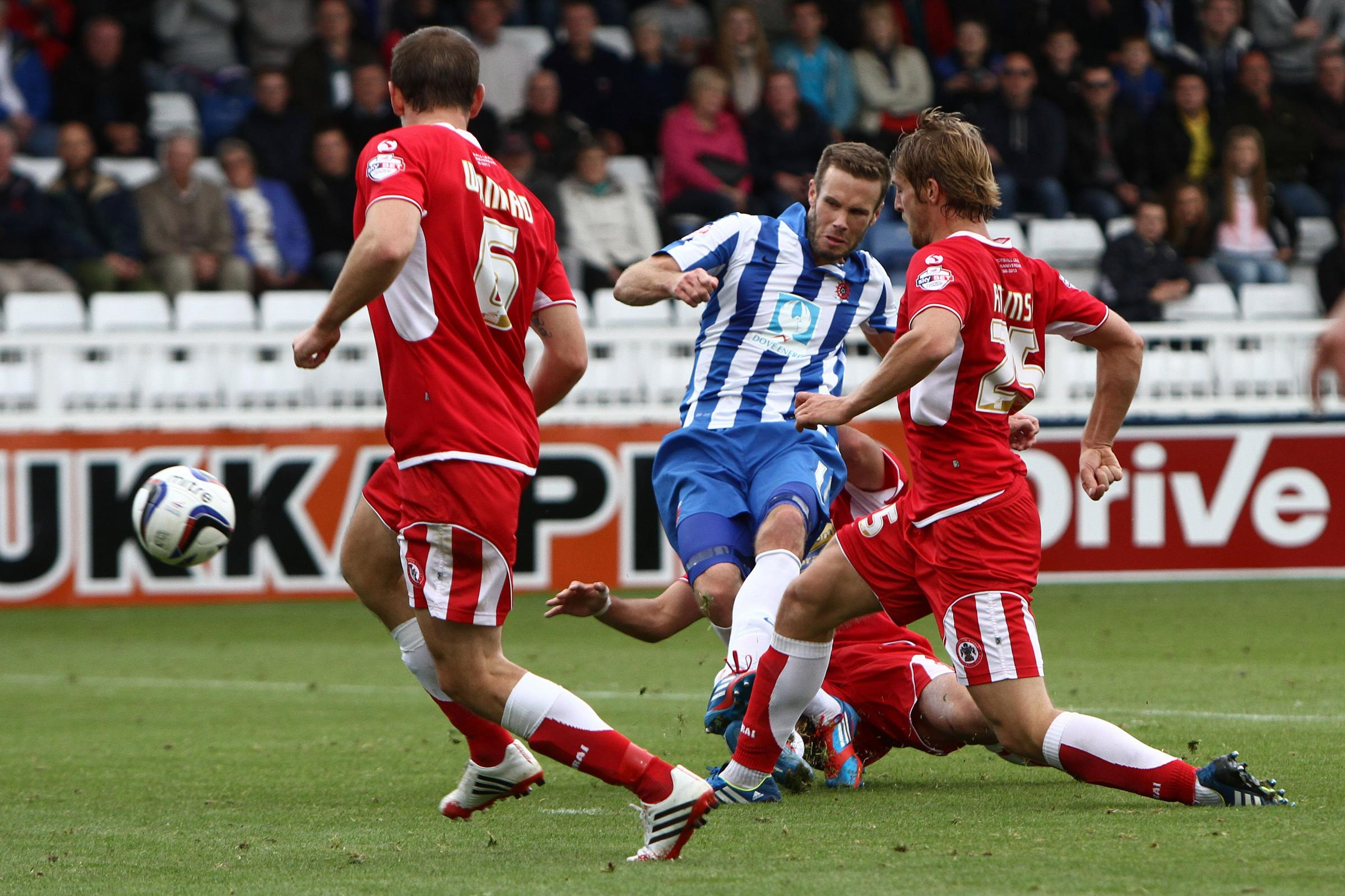 ON TARGET: Andy Monkhouse scores Pools' second goal against Accrington Stanley on Saturday